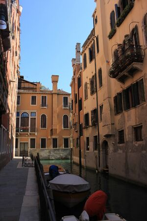 View of the old buildings and canals of Venice, Italy Standard-Bild - 131712400