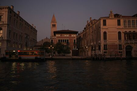 The night descends over the Grand Canal in Venice Stock Photo