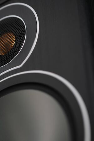 Wooden multimedia system in black close-up. Loudspeakers.