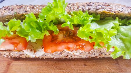 Healthy and tasty vegetarian sandwich with tofu, tomatoes and lettuce