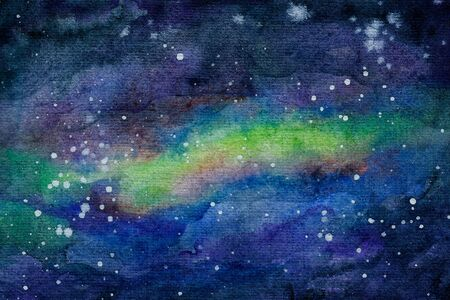 The watercolor background space scene with stars and nebula