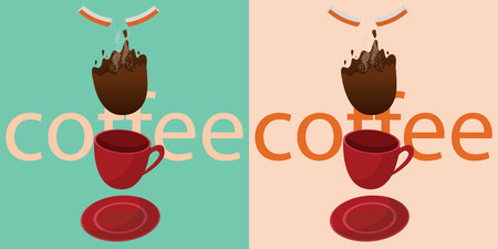 coffee is falling ,  in vintage style have 2 colors