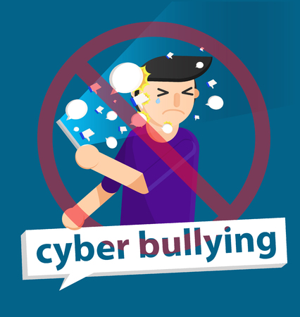 cyber bullying boy background graphic vector illustrations Çizim