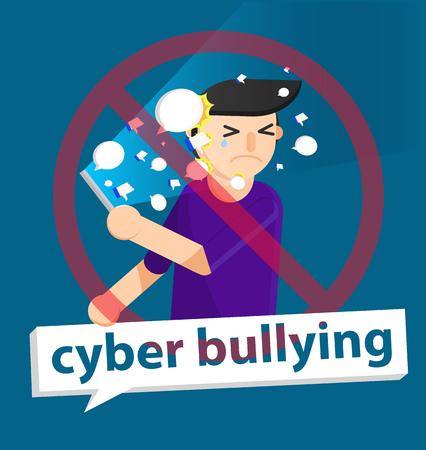 cyber pesten jongen achtergrond grafische vectorillustraties