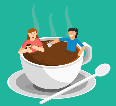 coffee meeting women in a cup of coffee vector graphic , illustration use to background