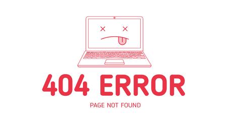 404 오류 아이콘 노트북 디자인 서식 파일로 흰색 배경 그래픽 웹 사이트