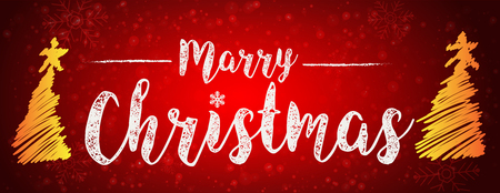 background marry christmas vector graphic and snow fall in red backgroud