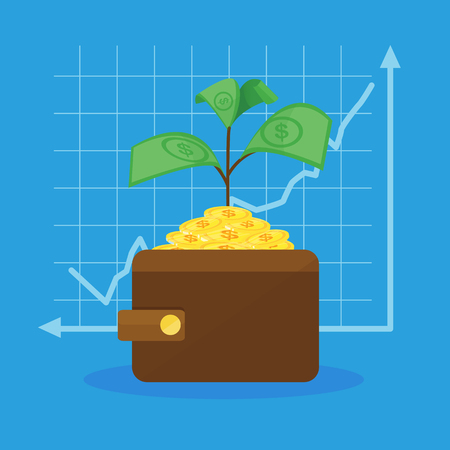 money tree in wallet and graph vector graphic background or banner