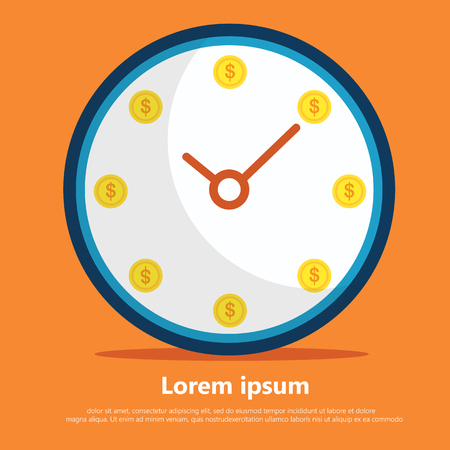 Every minute is money. clock flat vector with orange background adout invest