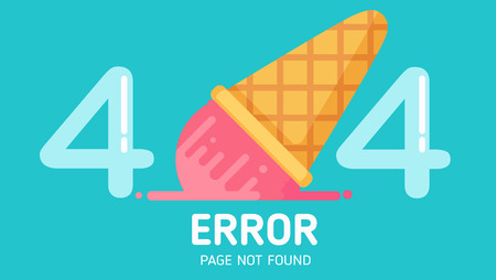 404  ice-cream fall error page not found vector graphic background pastel
