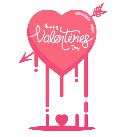 Happy Valentine's day and heart melted vector graphic background