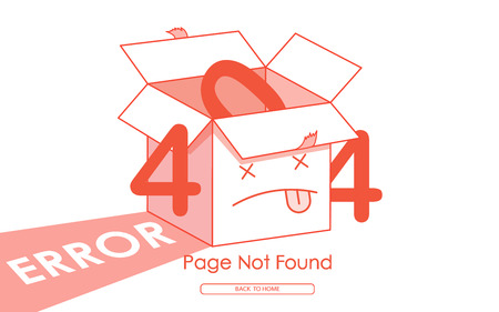 404 box error page not found graphic vector illustration