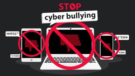 stop cyberpesten banner vector grafisch ontwerp voor campagne