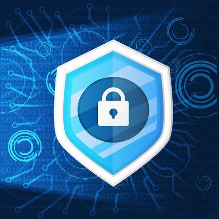 cyber security and shield key icon background graphic vector illustration Vektoros illusztráció