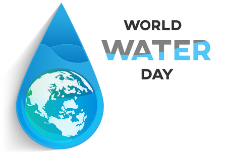 world water day icon with earth on drop on white background vector graphic