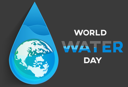 world water day black background , greeting card or poster for campaign save water Illustration