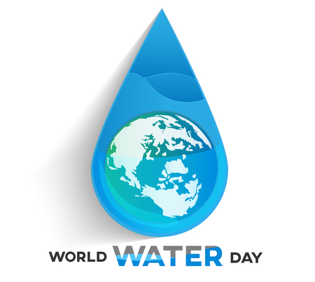 world water day white background, greeting card or poster for campaign save water with earth in water drop. Ilustração