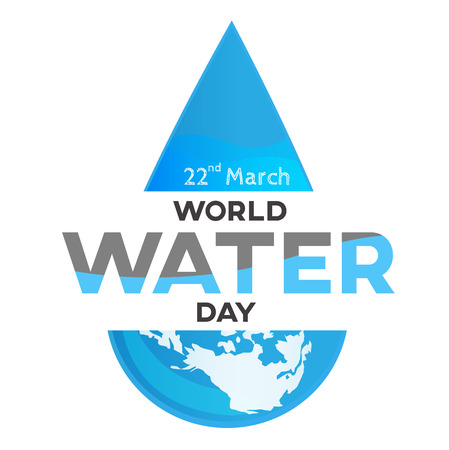 World Water Day on world map background, greeting card or poster for campaign save water concept