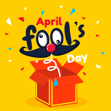 April fool's day text and funny red box vector background or banner graphic
