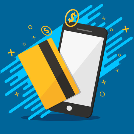 phone and credit for molie payments  background graphic vector illustrations Иллюстрация