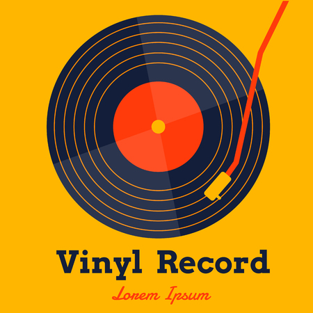Vinyl record music vector with yellow background graphic. Illustration