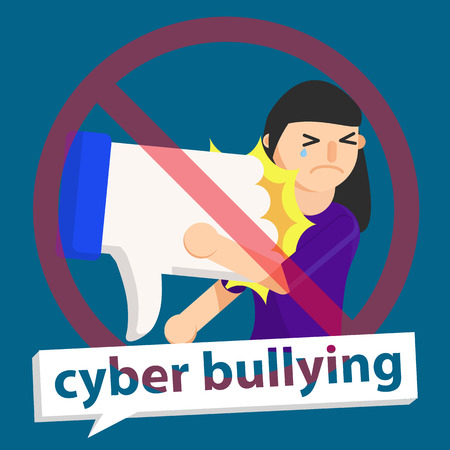 cyber bullying unlike to girl background graphic vector illustrations