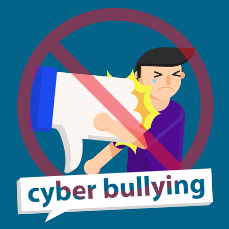 cyber bullying unlike to boy background graphic vector illustrations