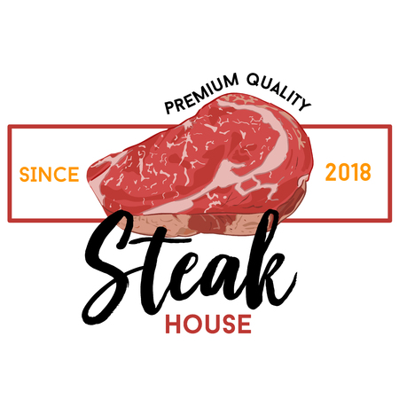Steak house text and meat vector cartoon with white background