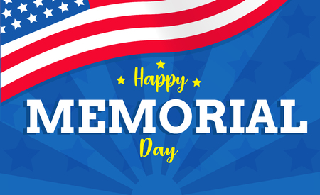 Happy memorial day with USA flag vector background or banner graphic