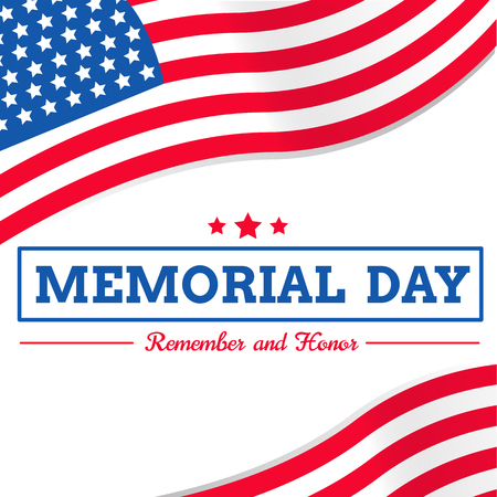 memorial day with USA flag vector on white background or banner graphic Illustration