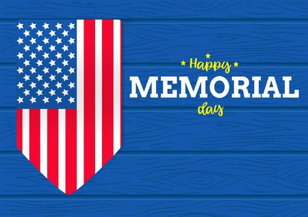 Happy memorial day vector on wood background and flag of america graphic