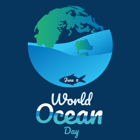world ocean day text background , greeting card or poster for campaign