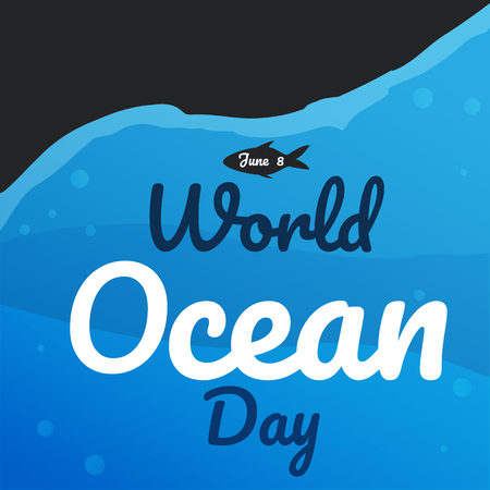 world ocean day text background greeting card or poster for
