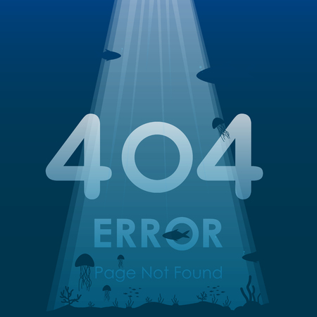 404 error page not found in under ocean background design