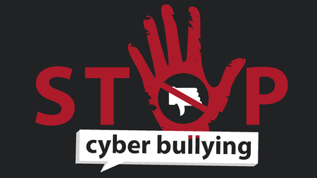 stop cyber bullying  banner vector graphic design for campaign  イラスト・ベクター素材