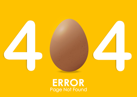404  error page not found with egg vector style and yellow background Illustration