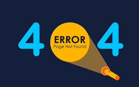 404 error with light of flashlight graphic on dark background Illustration