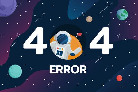 Error 404 con astronauta y planeta en el fondo del espacio Ilustración de vector