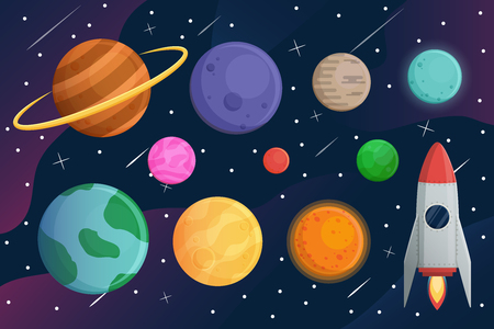 Imposta il pianeta con l'astronave o il razzo e lo sfondo vettoriale della galassia