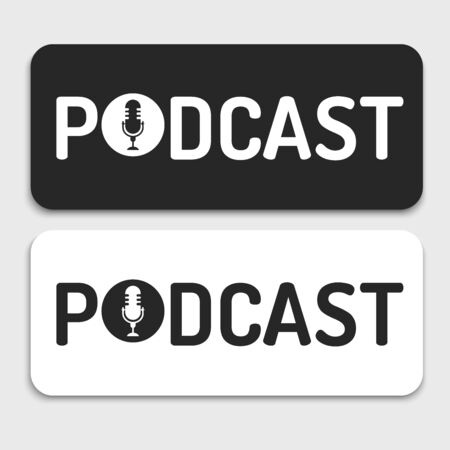 logo or icon podcast text ,black and white color,banner for podcast