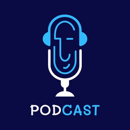 logo or icon podcast with white background,vector graphic Illustration