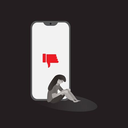 cyber bullying  phone with character feel sad  background graphic vector illustrations