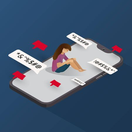 cyber bullying phone isometric with character feel sad background graphic vector illustrations
