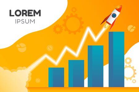 Creatieve vectorillustratie van groeigrafiek of business startup banner met raket afbeelding. Vector Illustratie