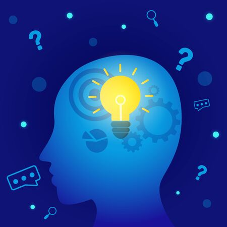 Vector creative illustration of thinking or solution ideas  banner with blue background graphic.