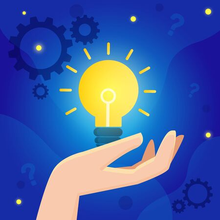 Vector creative illustration of thinking or  business ideas  banner with light bulb graphic.