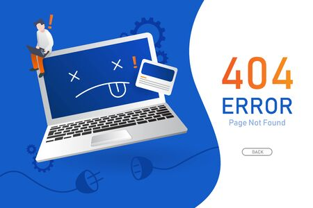 404  error page not found vector with computer or notebook graphic  design template for website background graphic