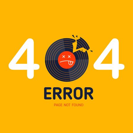 404  error page not found vector vinyl music broken graphic background
