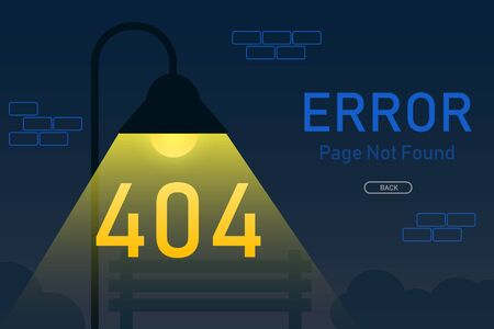 404  error page not found vector with lamp post graphic  design template for website background graphic