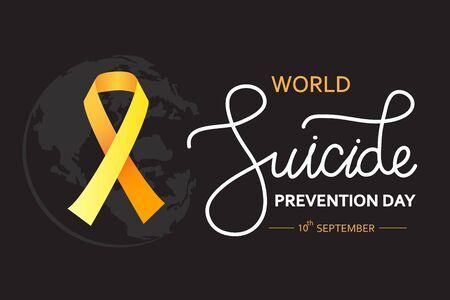 Concept de la Journée mondiale de la prévention du suicide avec ruban de sensibilisation. Illustration vectorielle sombre pour le web et l'impression.